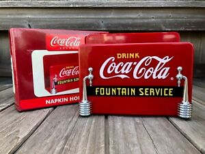 Coke ☆ COCA-COLA BRAND ☆ FOUNTAIN SERVICE NAPKIN HOLDER ☆ Red Plastic ☆ NIB