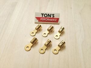 6 Brass Spark Plug Wire Ends Clips Crimp Ring Terminals Maytag Briggs Hit Miss