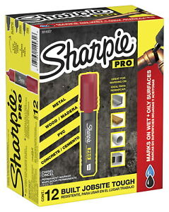 Sharpie Pro Permanent Marker Chisel Red Pack Of 12