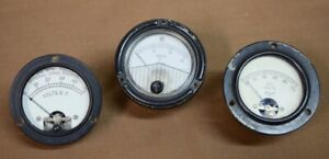 Lot Of 3 Vintage Dc Electrical Panel Voltmeters Hoyt Phaostron And Unmarked