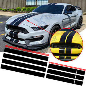 Black Red Graphics Racing Stripe Hood Roof Trunk Decal Stickers For Ford Mustang