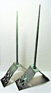 Matched Pair All Copper Antique Roof Peak Lightening Rods Short Points