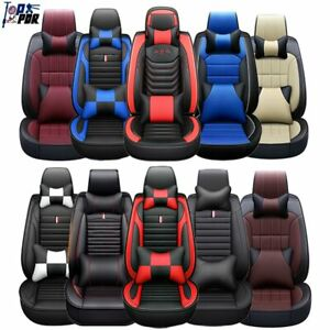 Universal Pu Leather Car Seat Cover Accessories Front Rear 5 Sit Cushions Set Us
