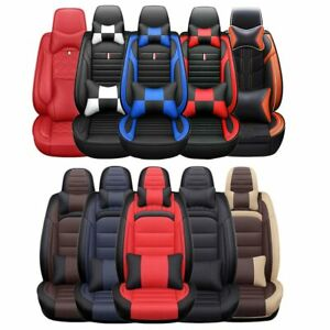 Luxury Car Seat Covers 5 Seats Pu Leather Cushions Protector Front Rear Interior