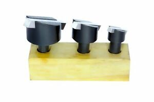 Fly Cutter 3 Pc Set 1 2 Inch Shank 3 Pc H s s Square Tool Bit With Wooden Stand