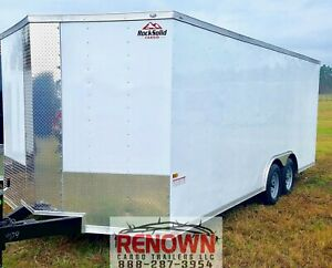 new 2020 8 5x20 Tandem Axle White V nose Enclosed Cargo Trailer 5200lb Axles