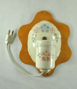 Vintage Antique Porcelain Floral Wall Sconce Light Fixture Plug In