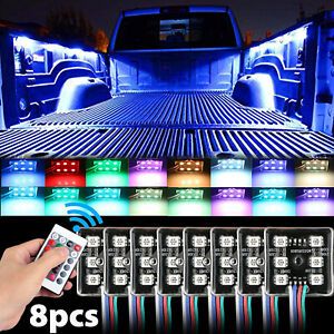 8pcs Rgb 48 Leds Truck Bed Under Body Lighting Kit Ir Remote For Chevy Dodge Gmc