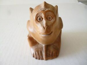 Hand Carved Wooden Monkey Figure 2 7 8 X 2 7 8