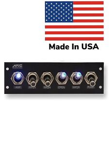 Switch Panel 6 Toggle Blue Led 12v Assorted Labels And Hardware Usa Made