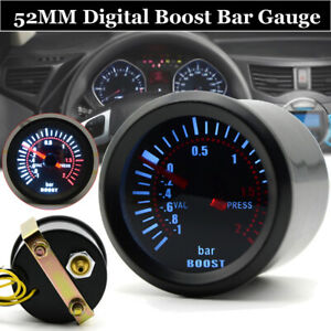 Digital Car Boost Bar Gauge 2 52mm 35psi Black Pressure Pod Holder Turbo Meter