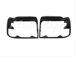 Bundle For 92 96 Ford F150 F250 F350 Bronco Headlight Door Bezel Raw Black Set