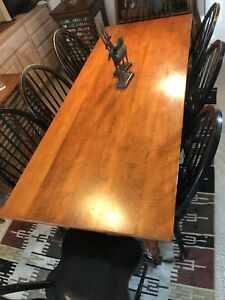 Modern Harvest Dining Table 82 Curly Maple Farmhouse With 8 Matching Chairs
