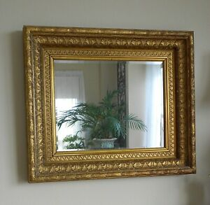 Antique Gilded Wood Frame With Mirror 29 X 25 Lovely Condition