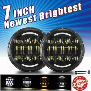 2x 7 Inch Led Headlight Halo Hi lo Turn Signal Halo For Ford Mustang 1965 1978