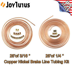 3 16 And 1 4 Steel Copper Nickel Line Tubing Rolls Kit fittings 25 Ft Brake Line