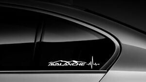 Avalanche Heart Beat Pulse Sticker Decal Chevy Chevrolet Truck Window Pair 002