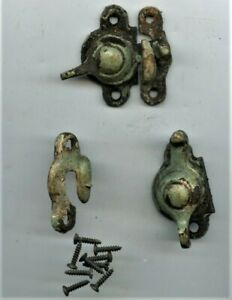 2 Antique Window Sash Locks Latch With Keepers Dated Dec 27 87