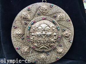 Tibet Nepal Handicraft Silver Filigree Eight Auspicious Symbols Garuda Bird