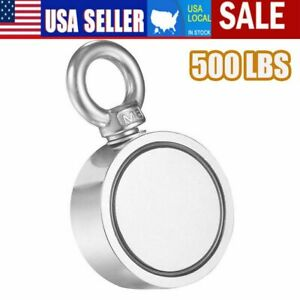 Us 500lbs Double Sided Super Strong Neodymium Fishing Magnet Power Pulling Force