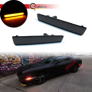 For 2015 2020 Dodge Challenger Front Bumper Side Marker Lamps Lights Smoked Lens