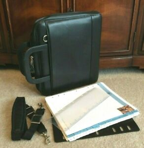 Monarch Black Full Grain Leather Franklin Covey Zip Planner Binder Handle Strap