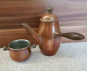 Antique French Copper Coffee Pot With Sugar Bowl Vgc