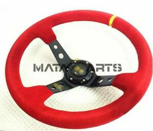 Universal 350mm 14in Red Suede Leather Deep Dish Racing Drifting Steering Wheel
