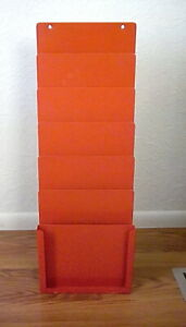 Steel Wall Mounted Clipboard Holder Organizer Rack 6 Pockets Red Steel
