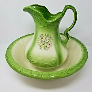 Vintage Ironstone Pitcher And Basin Set Wash Jug And Bowl Floral Flowers Green