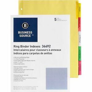 Business Source Ring Binder Indexes 2 tabs 11 x8 1 2 5tabs 5st bx Mi 36692bx