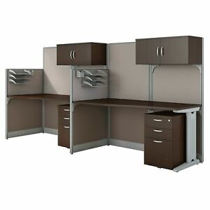 Bush Business Furniture Office In An Hour 2 Person Cubicle Workstations Mocha