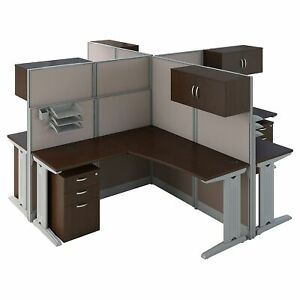 Bush Business Furniture Office In An Hour 4 Person L Shaped Cubicle Workstations