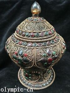 Tibet Nepal Handicraft Silver Filigree Inlay Gem Tibet Buddhist Cereals Box Jar