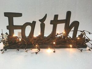 Faith Sign Berry Garland Country Primitive Home Decor Picture
