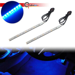 2x 12 Smd Ultra Blue Led Strips For Car Interior Atmosphere Foot Step Lighting