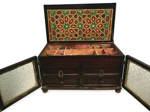 Antique Jewelry Box Chest Moroccan Pressed Glass Primitive Painted Chip Carved