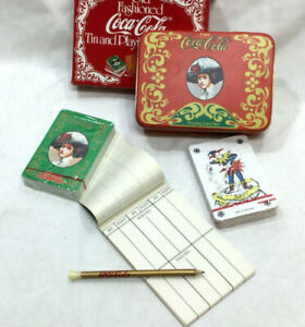 New Vintage Coca-Cola Old Fashioned Tin & Playing Card Decks Pencil Notepad Set