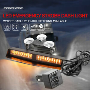 Led Emergency Strobe Dash Amber Light 25 Flash Patterns Available W 12ft Cable