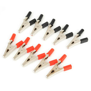 10pcs Crocodile Clips Insulated Handle Cable Lead Testing Alligator Clamps Set