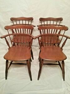 Vintage Set 4 Ethan Allen Kling Colonial Comb Back Windsor Maple Dining Chairs