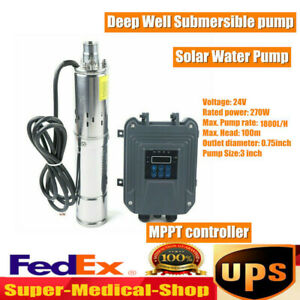 3 Dc Deep Bore Well Solar Water Pump 24v 270w Submersible With Mppt Controller