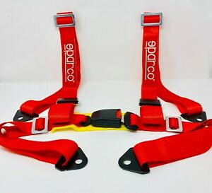 Sparco Racing Style 4 Point Bolt in 2 Safety Seat Belt Harness Universal Red