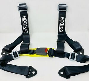 Sparco Racing Style 4 Point Bolt In 2 Safety Seat Belt Harness Universal Black