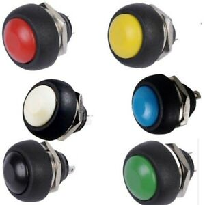 6pcs 6 Color Mini 12mm Waterproof Momentary On off Push Button Round Switch