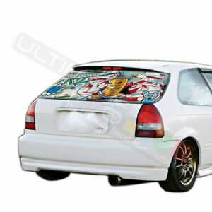 Sticker Bomb Skin Rear Window See Thru Stickers Perforated For Honda Civic 1996