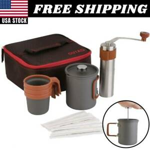 French Press Coffee Maker Manual Grinder Set Hand Burr Mill Grinding Machine USA $27.99