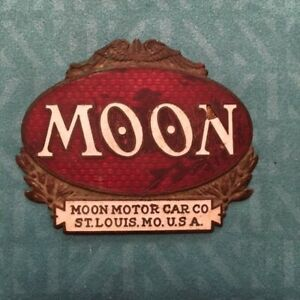 Vintage 1921 1922 Moon Radiator Emblem Badge Ct27 Red White