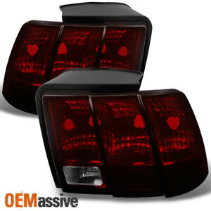 Fit 99 04 Ford Mustang Dark Red Tail Lights Brake Lamps L R Replacement