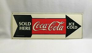 Vtg 1991 Coca Cola Metal Sign Ice Cold Coca Cola Sold Here-Large 25 3/4 x 9 1/2